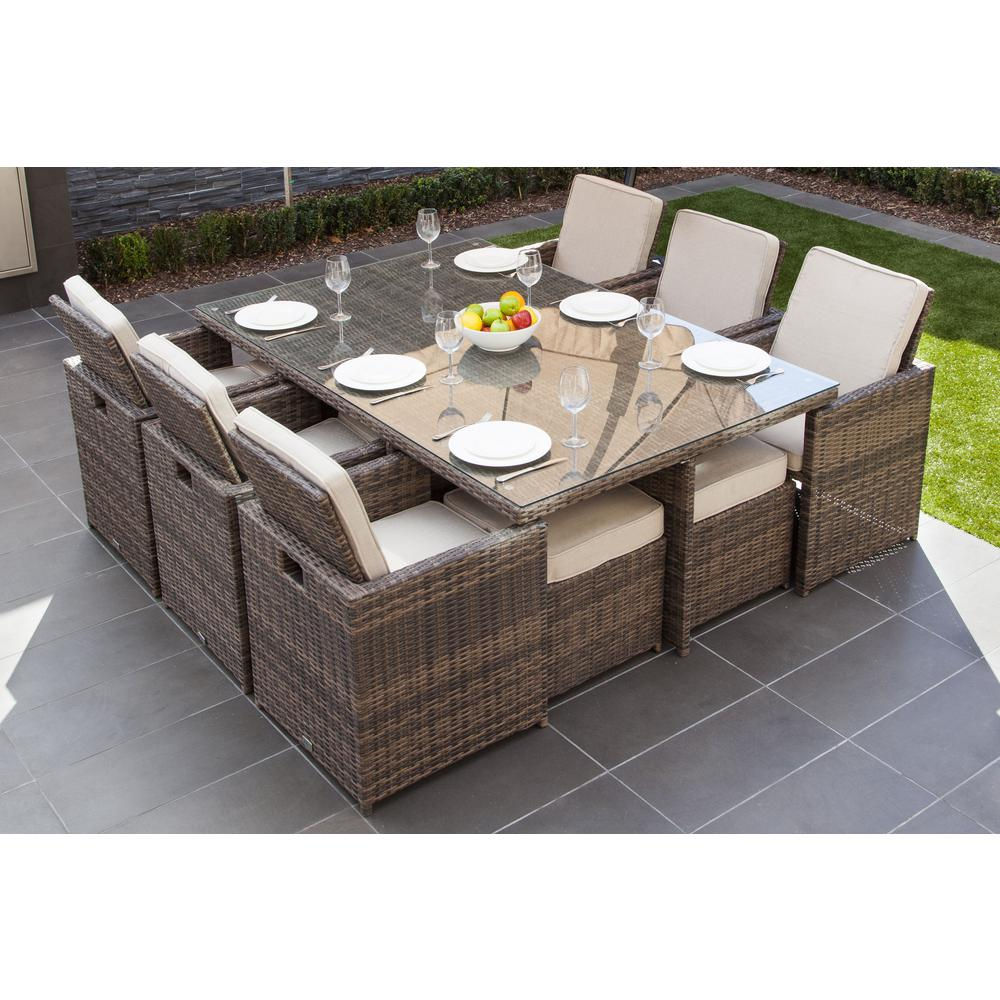 Malta Variegated Brown 11 Piece Wicker Outdoor Dining Set With Beige Cushions