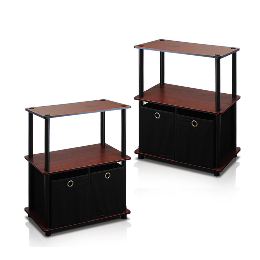 Go Green Dark Cherry 3-Shelf Open Bookcase with Bins (2-Pack)