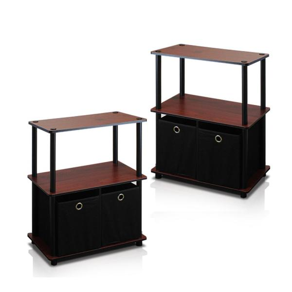 Furinno Go Green Dark Cherry 3-Shelf Open Bookcase with Bins (2-Pack)