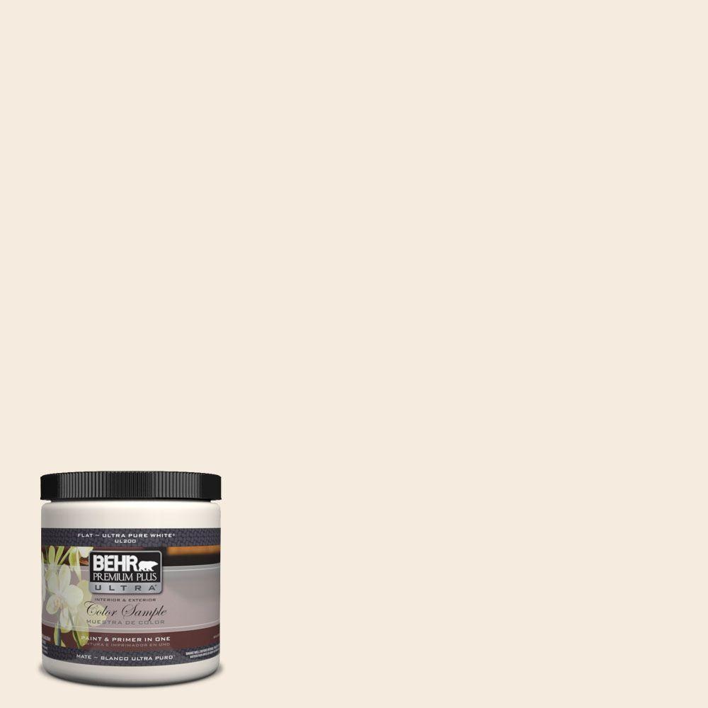 BEHR Premium Plus Ultra 8 oz. #UL140-14 Heavy Cream Flat Interior/Exterior Paint and Primer in One Sample