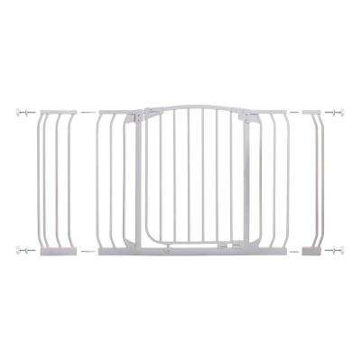 Chelsea 29.5 in. H Standard Height and Extra Wide Auto-Close Security Gate in White with Extensions