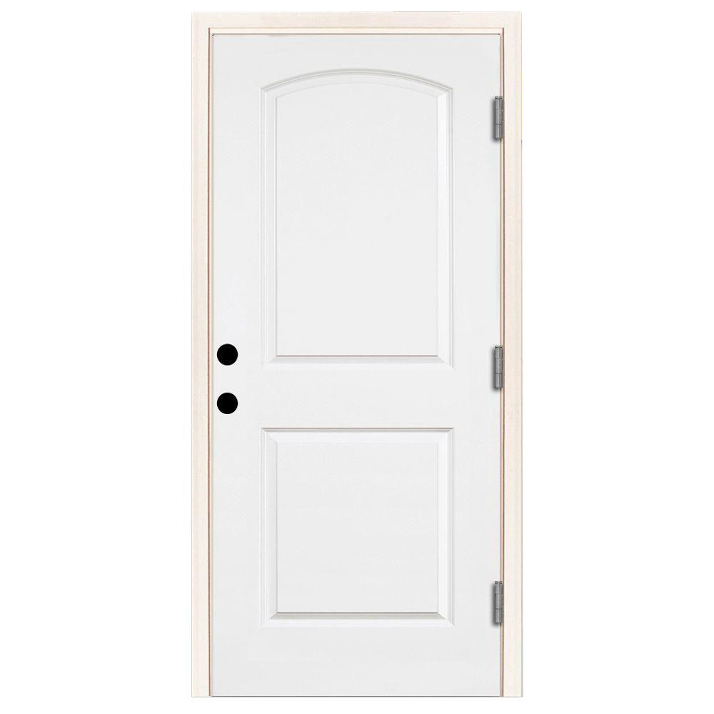 Steves & Sons 32 in. x 80 in. Premium 2-Panel Roundtop Left-Hand Outswing Primed White Steel Prehung Front Door with 6-9/16 in. frame
