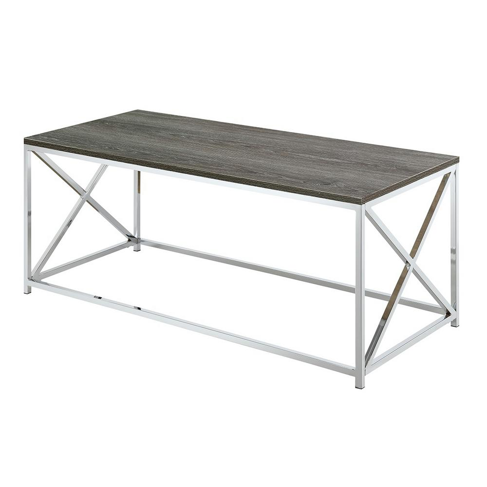 Convenience Concepts Belaire Chrome And Weathered Gray Coffee Table