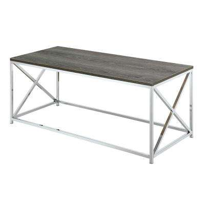 Belaire Chrome and Weathered Gray Coffee Table