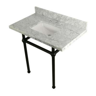 Square Sink Washstand 36 in. Console Table in Carrara with Metal Legs in Matte Black