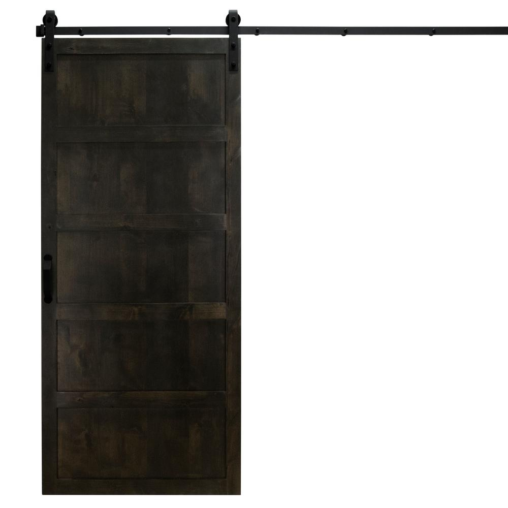 Dogberry Collections 36 In. X 84 In. 5 Panel Midnight Black Alder Wood