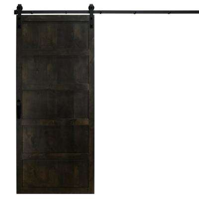 36 in. x 84 in. 5-Panel Midnight Black Alder Wood Interior Barn Door Slab with Sliding Door Hardware Kit
