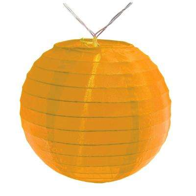 Battery Operated Orange String Light with 6 in. Nylon Lanterns (10-Count)