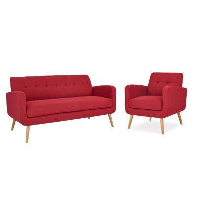 Kingston Mid Century Modern Sofa and Arm Chair Set in Cherry Red Textured Linen