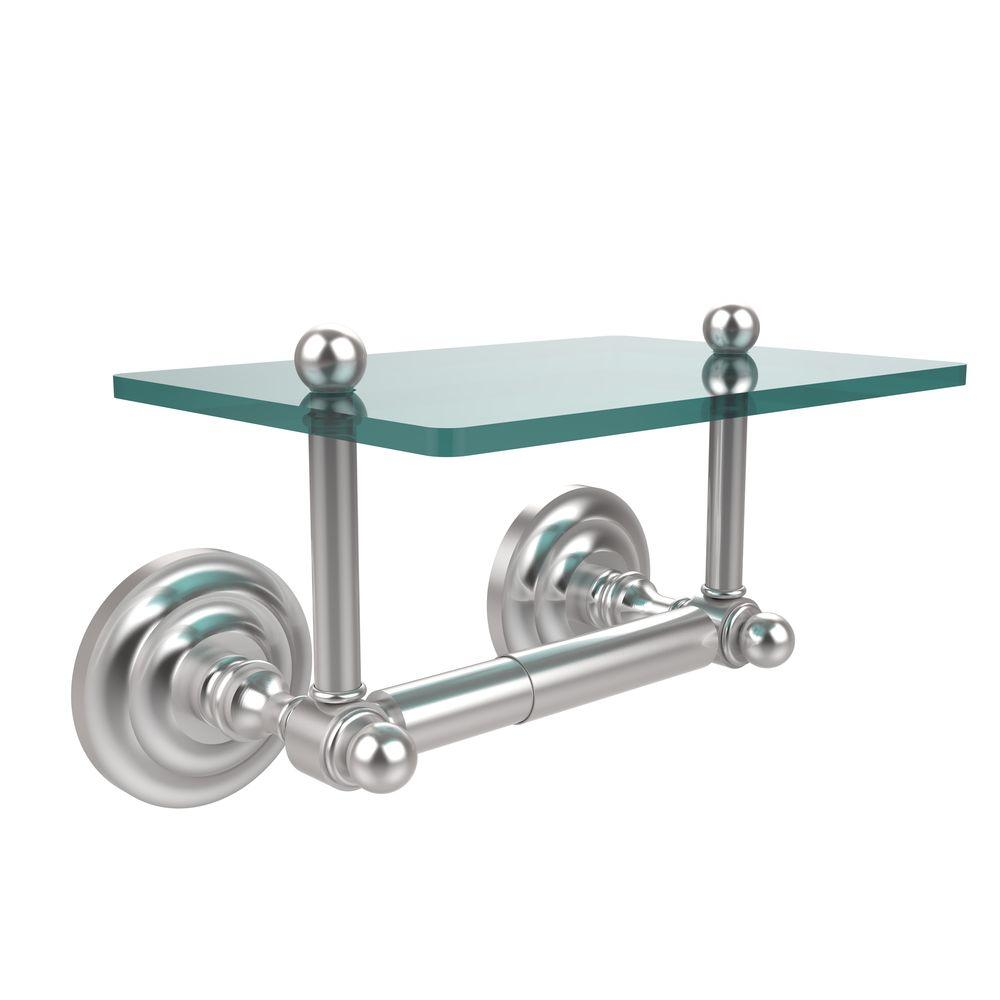 Que New Collection Double Post Toilet Paper Holder with Glass Shelf