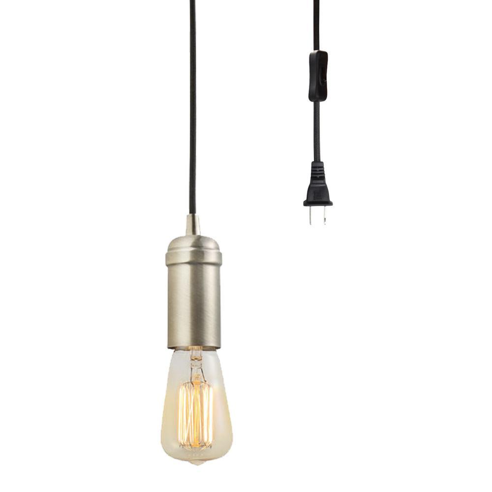 globe electric 1 light antique brass vintage plug in hanging socket pendant with black rope. Black Bedroom Furniture Sets. Home Design Ideas