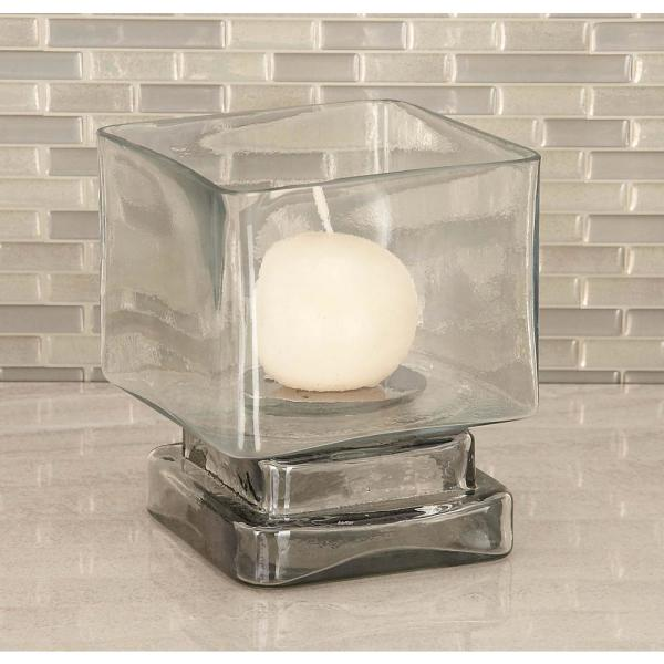 6 in. Cube-Shaped Frosted Glass Hurricane Candle Holders (Set of 2)