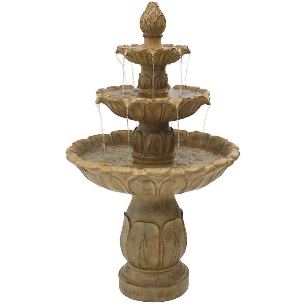 3 Tier Polyresin Clic Tulip Outdoor Garden Tiered Water Fountain