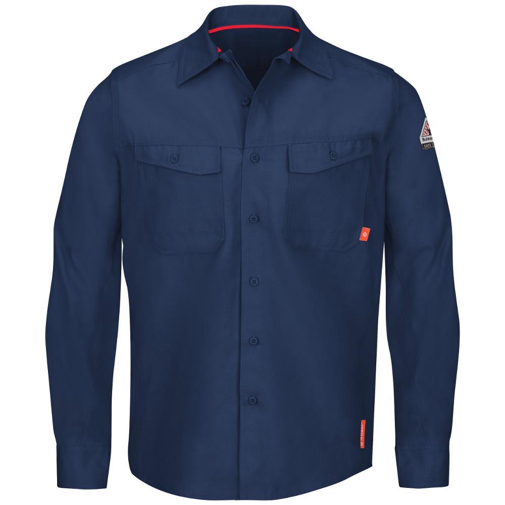 3c31bf7135e Bulwark iQ Series Men s 4X-Large (Tall) Navy Endurance Work Shirt ...