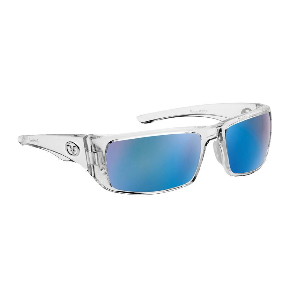fe48ff4eb0 Flying Fisherman Morocco Polarized Sunglasses Crystal Frame with Smoke Blue  Mirror Lens