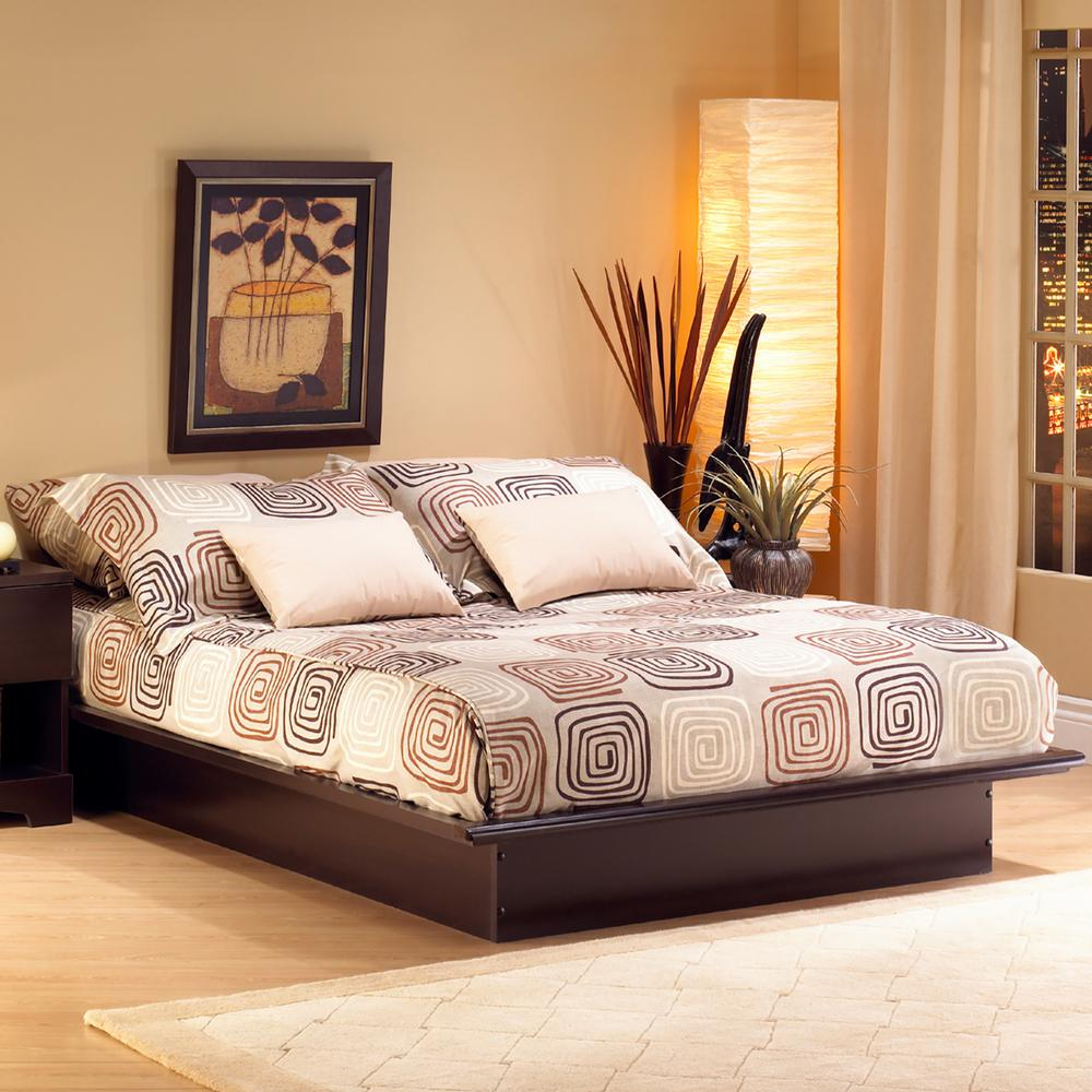 south shore step one fullsize platform bed in chocolate