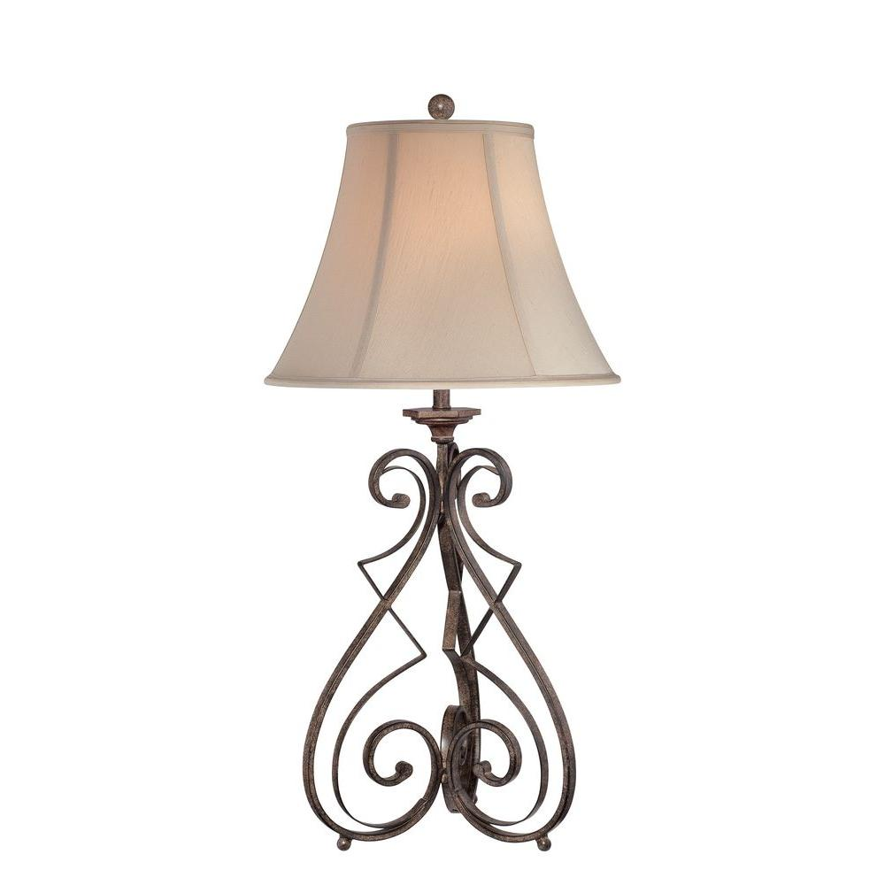 Illumine Designer Collection 33 in. Iron Table Lamp with-Light Beige Fabric Shade