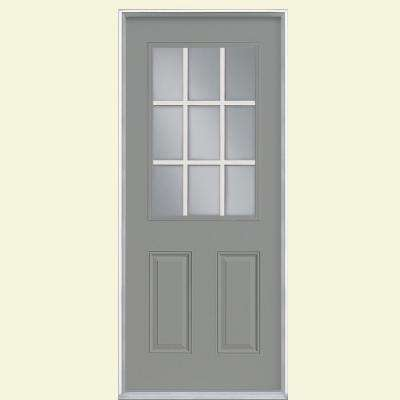 36 in. x 80 in. 9 Lite Silver Cloud Left Hand Inswing Painted Smooth Fiberglass Prehung Front Door with No Brickmold