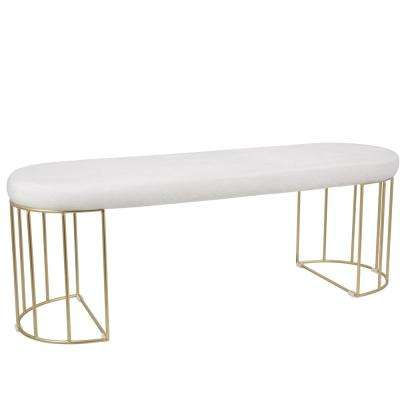 Canary White Mohair Fabric with Gold Dining/Entryway Bench