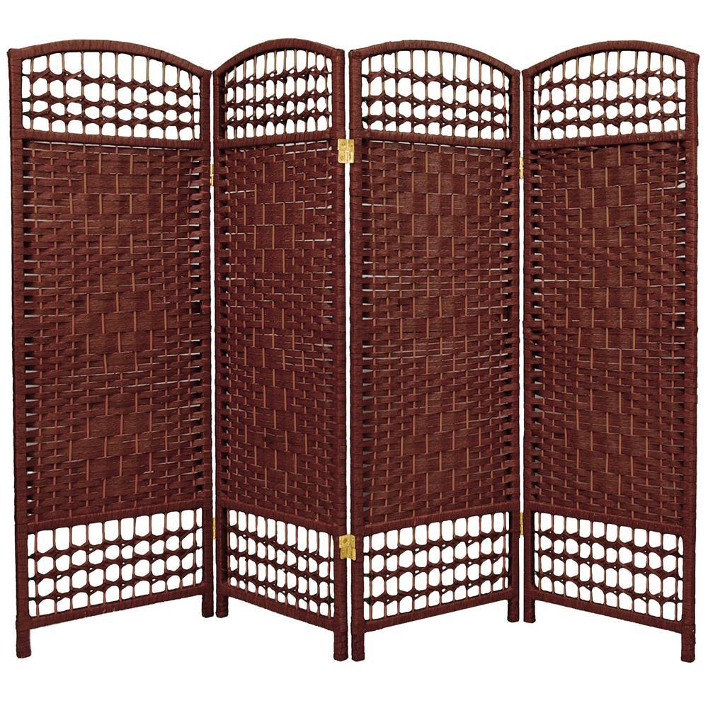 4 ft. Dark Red 4-Panel Room Divider