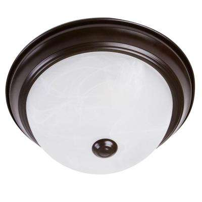 2-Light Oil-Rubbed Bronze Flushmount with White Marble Glass Shade