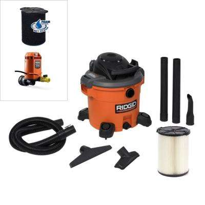 12 Gal. 5.0-Peak HP Wet Dry Vac with Pump Attachment and Wet Filter