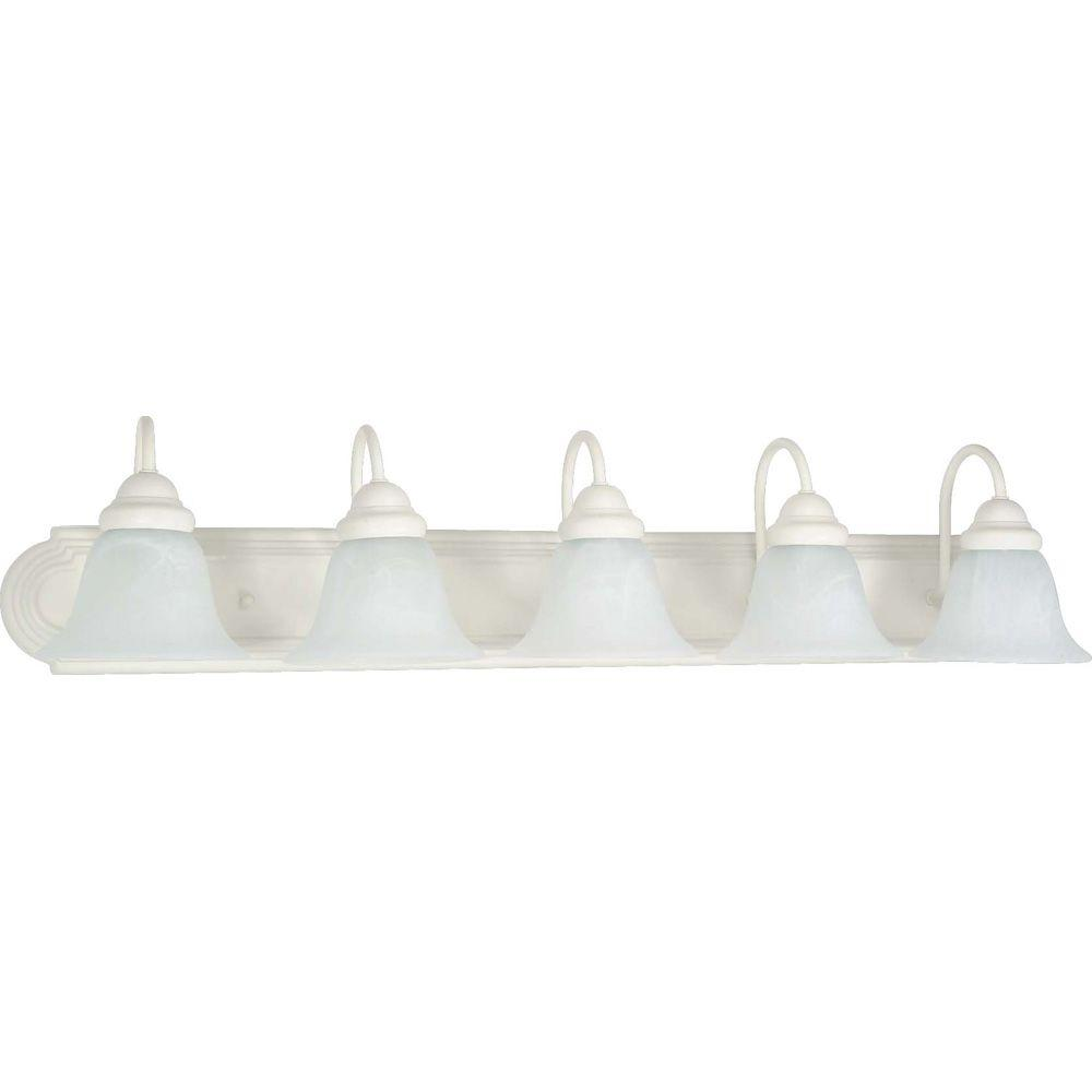 Glomar 5 light textured white vanity light with alabaster glass bell shades