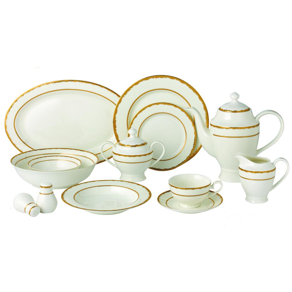 57-Piece Gold Dinnerware Set-New Bone China Service for 8-People-Sonia
