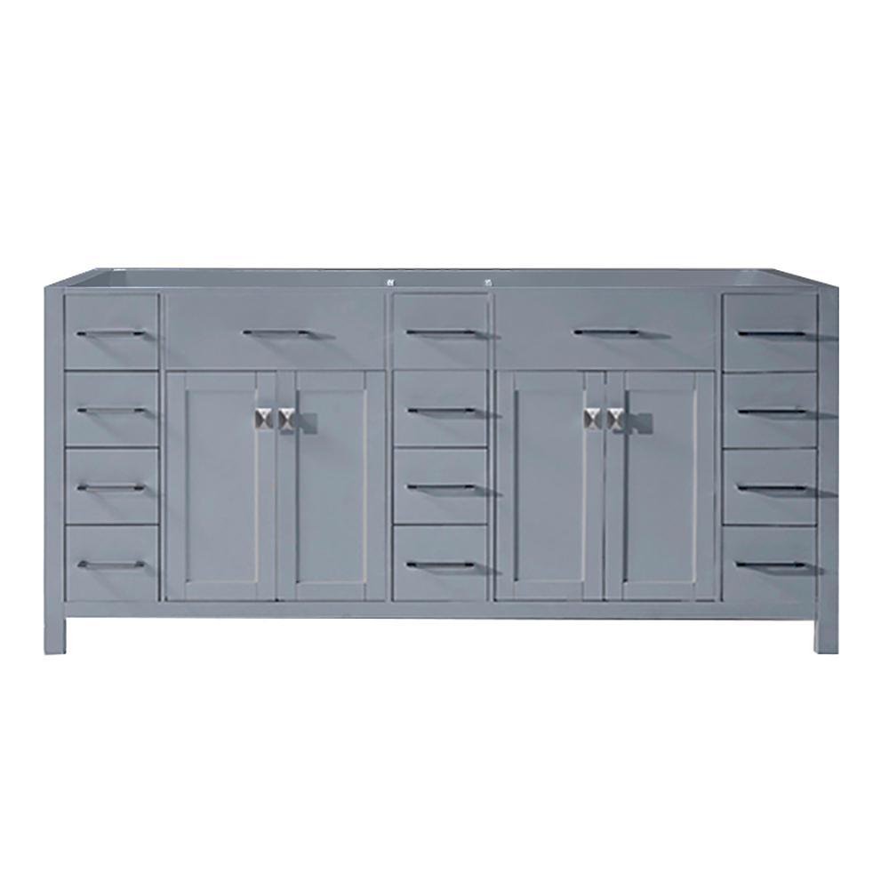 Virtu USA Caroline Parkway 72 inch W x 22 inch D Vanity Cabinet Only in Grey by Virtu USA