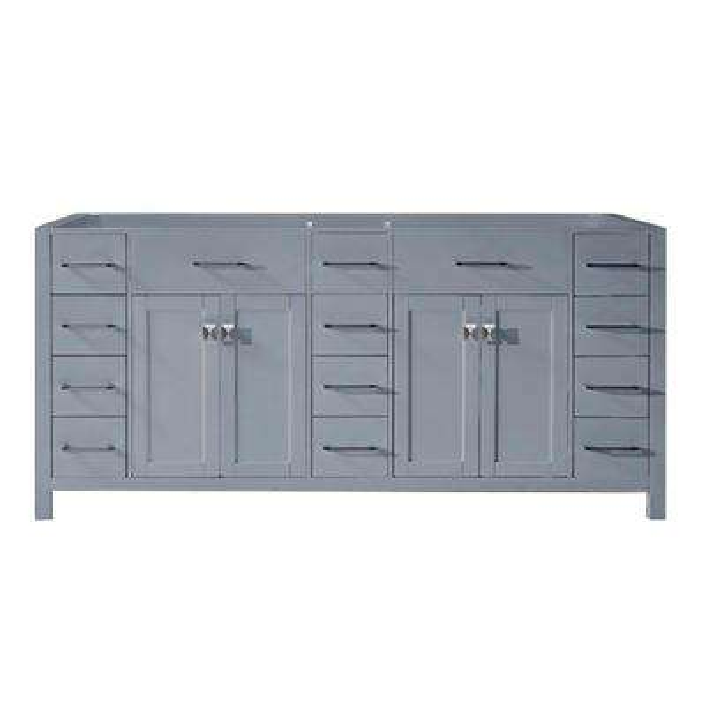 Caroline Parkway 72 in. W x 22 in. D Vanity Cabinet Only in Grey