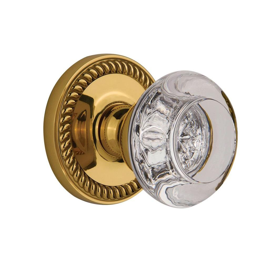 null Grandeur Polished Brass Passage Newport with Bordeaux Crystal Knob