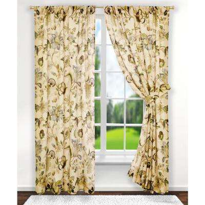 Brissac 70 in. W x 63 in. L Polyester Tailored Pair Curtains with Tiebacks in Linen