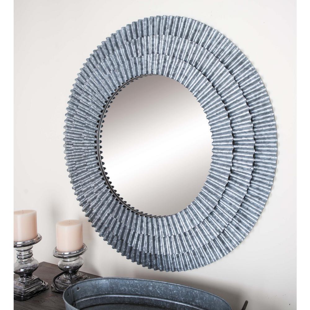 Medium Round Gray Distressed Contemporary Mirror (37 in. H x 37 in. W)