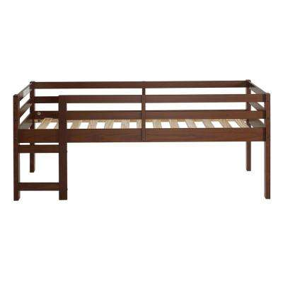 Solid Wood Walnut Twin Low Loft Bed