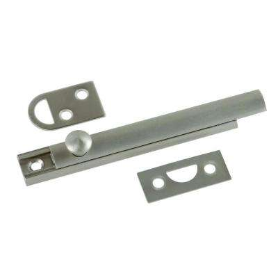4 in. Solid Brass Satin Nickel Slide Door Bolt