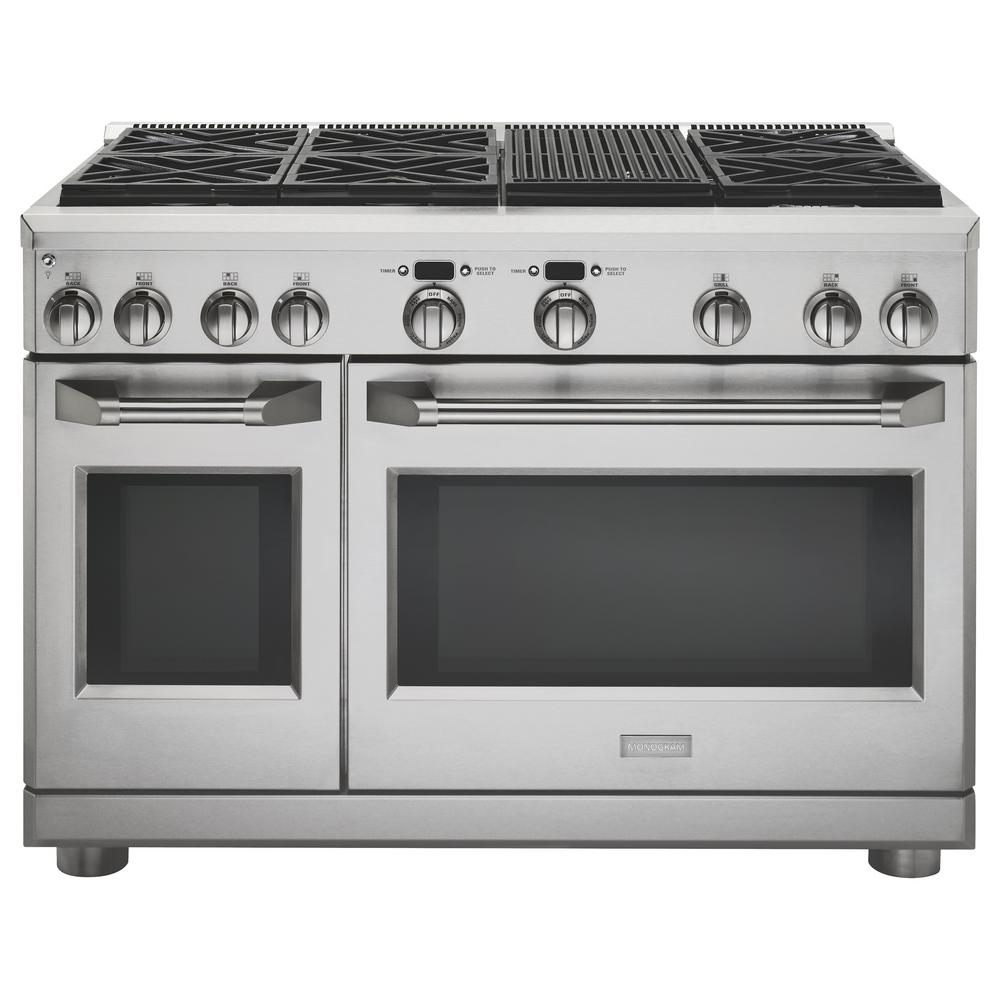 Monogram 48 In Dual Fuel Professional Range With 6 Burners And Grill Natural Gas Zdp486nrpss The Home Depot
