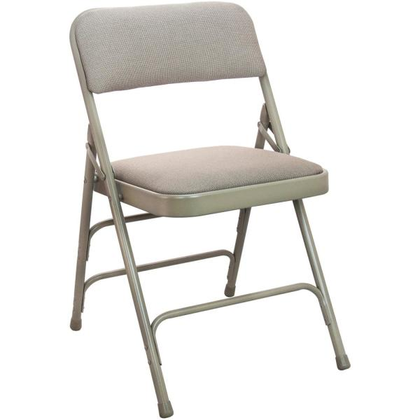 Beige Fabric Seat Padded Metal Folding Chair 4 Pack