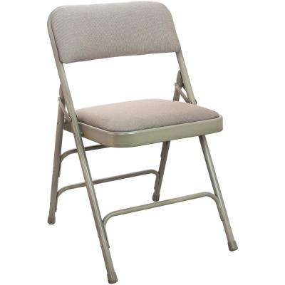 1 in. Beige Fabric Seat Padded Metal Folding Chair