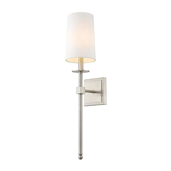 Filament Design 1 Light Polished Nickel Wall Sconce With White Fabric Shade Hd Te47223 The Home Depot