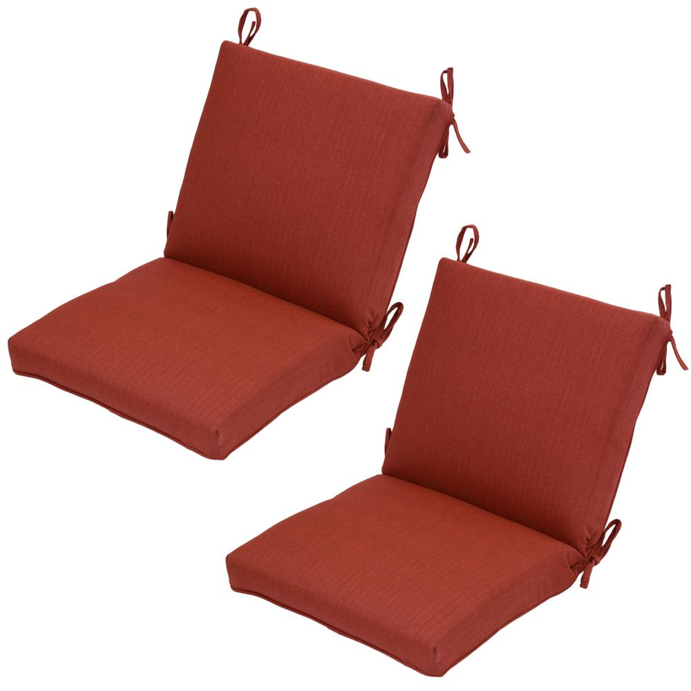 Chili Texture Mid-Back Outdoor Dining Chair Cushion (Pack of 2)