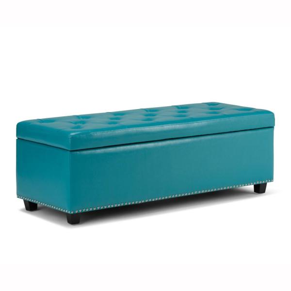 Gilbert 48 inch Wide Traditional Rectangle Storage Ottoman in Mediterranean Blue Faux Leather
