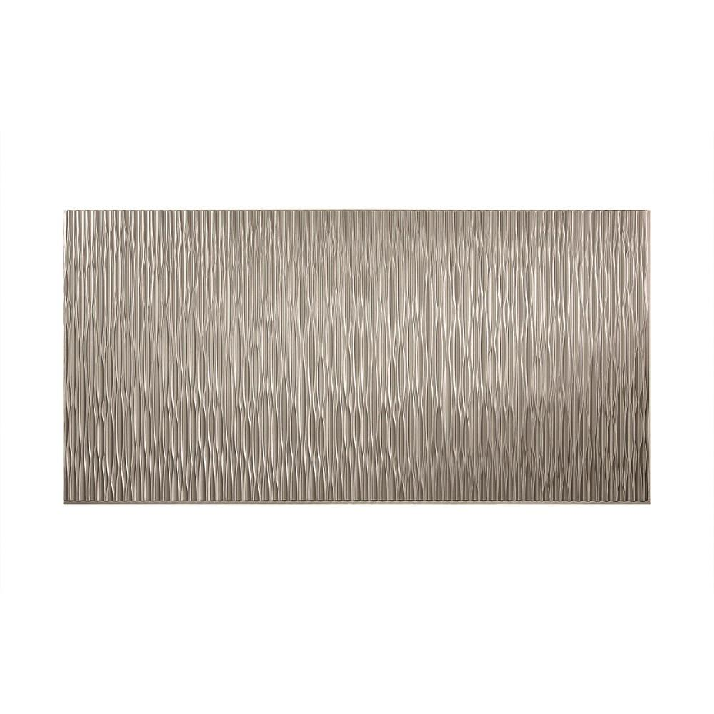 Fasade Dunes Vertical 96 in. x 48 in. Decorative Wall Panel in Argent Silver
