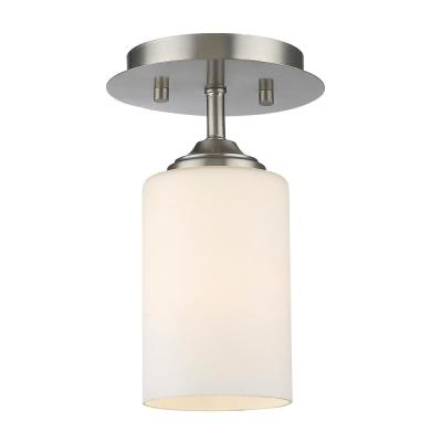 Barr 5.5 in. 1-Light Brushed Nickel Semi-Flush Mount with Matte Opal Glass