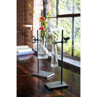 14 in. to 14.5 in. H Metal/Glass Stem Vase with Stand (Set of 2)