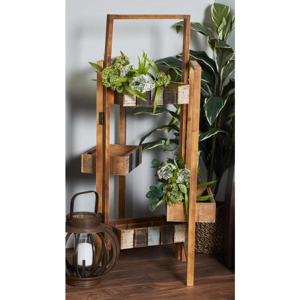 d5b557a82d61 Litton Lane Distressed Brown Wood and Iron Folding Planter Stand ...