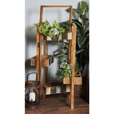 Distressed Brown Wood and Iron Folding Planter Stand
