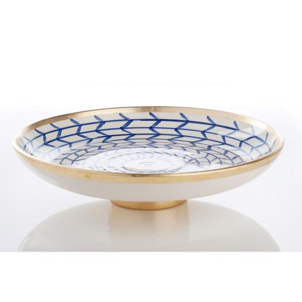 Contempo Blue and White Footed Plate