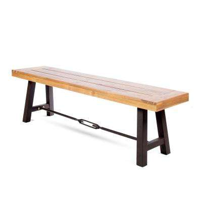 63 in. Teak Brown Wood and Metal Outdoor Dining Bench