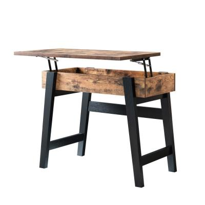 Furniture of America Kelli Distressed Wood & Black Lift-Top Console Table