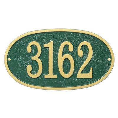 Fast and Easy Oval House Number Plaque, Green/Gold